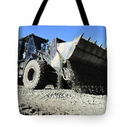 A Front End Loader Raising A Road Bed Tote Bag