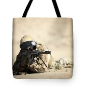 A German Soldier Sights In A Barrett Tote Bag