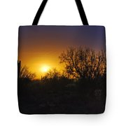 A Golden Saguaro Sunrise Tote Bag