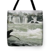 A Great Blue Heron Stretches Its Neck Tote Bag
