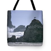 A Gull Sits On A Rock At Cannon Beach Tote Bag