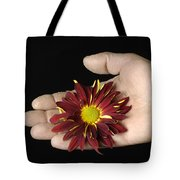 A Hand Holding A Red Rover Tote Bag