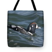 A Harlequin Duck Surfing Tote Bag