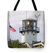 A Hawk Sits Next To Weather Instruments On Top Of Chatham Lighth Tote Bag