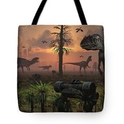 A Herd Of Allosaurus Dinosaur Cause Tote Bag