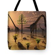 A Herd Of Omeisaurus Dinosaurs Grazing Tote Bag