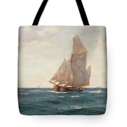 A Ketch And A Brigantine Off The Coast Tote Bag
