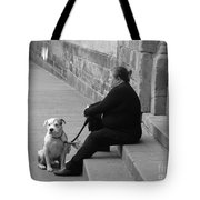 A Lady With Her Dog In Barcelona Tote Bag