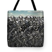A Large Gathering Of Robots Tote Bag