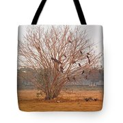 A Leafless Tree That Is Home To A Large Number Of Big Birds In The Middle Of A Ground Tote Bag