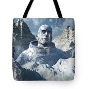 A Lone Astronaut Stares At A Statue Tote Bag