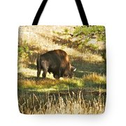 A Lone Bison In Yellowstone 9467 Tote Bag
