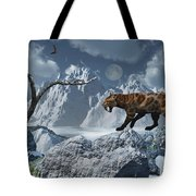 A Lone Sabre-toothed Tiger In A Cold Tote Bag by Mark Stevenson