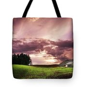 A Lonely Farm Building In An Open Field Tote Bag