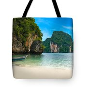 A Long Tail Boat By The Beach In Thailand  Tote Bag