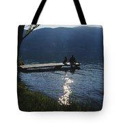 A Man And His Dog On A Lake Skaha Dock Tote Bag