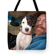A Man And His Puppy In Wv Tote Bag
