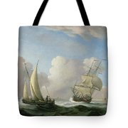A Man-o'-war In A Swell And A Sailing Boat Tote Bag
