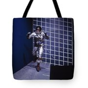 A Man Walks A Wall In A Special Harness Tote Bag