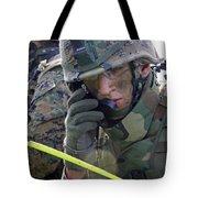 A Marine Communicates Over The Radio Tote Bag