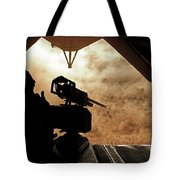 A Marine Waits For Dust To Clear While Tote Bag