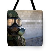A Marine Wearing A Gas Mask Tote Bag