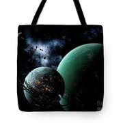 A Massive Space Station Orbits A Large Tote Bag