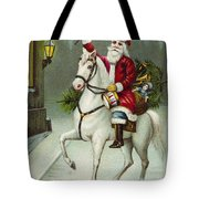 A Merry Christmas Card Of Santa Riding A White Horse Tote Bag