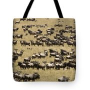 A Migrating Herd Of Wildebeests Tote Bag