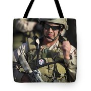 A Military Reserve Navy Seal Gives Tote Bag