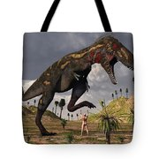 A Nano-tyrannosaurus Takes On Adam Tote Bag