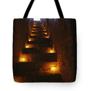 A Narrow Staircase Lit With Candles Tote Bag