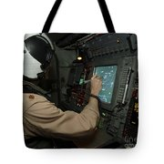 A Naval Flight Officer Tracks Aircraft Tote Bag