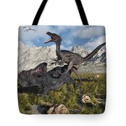 A Pack Of Velociraptors Attack A Lone Tote Bag