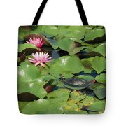 A Painted Turtle Rests On A Water Lily Tote Bag