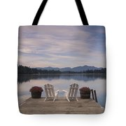 A Pair Of Adirondack Chairs On A Dock Tote Bag