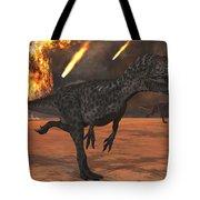 A Pair Of Allosaurus Dinosaurs Running Tote Bag