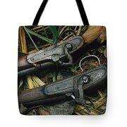 A Pair Of Old Flint-type Rifles Lying Tote Bag