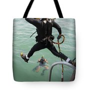 A Photographer Documents A Navy Diver Tote Bag