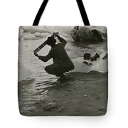 A Photographer Processes Film Among Ice Tote Bag