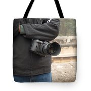 A Photographer With His Digital Camera On Location At A Historical Monument Tote Bag