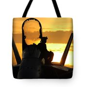 A Plane Captain Enjoys A Sunset Tote Bag