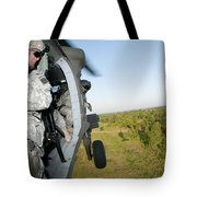 A Platoon Sergeant Prepares To Land Tote Bag