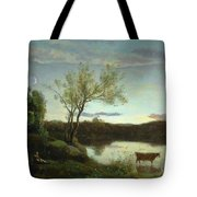 A Pond With Three Cows And A Crescent Moon Tote Bag