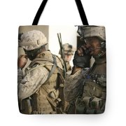 A Radio Operator Helps A Platoon Tote Bag by Stocktrek Images