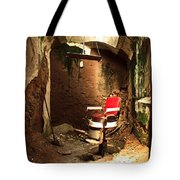 A Red Barber Chair In A Spotlight  Tote Bag