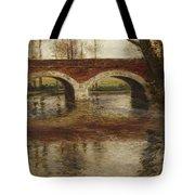 A River Landscape With A Bridge  Tote Bag