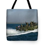 A Riverine Command Boat During Exercise Tote Bag