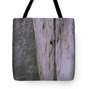 A Rock Climber Clings To An Overhang Tote Bag