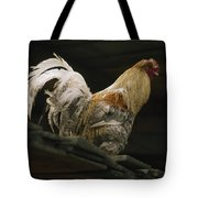 A Rooster Struts On A Wood Roof Tote Bag